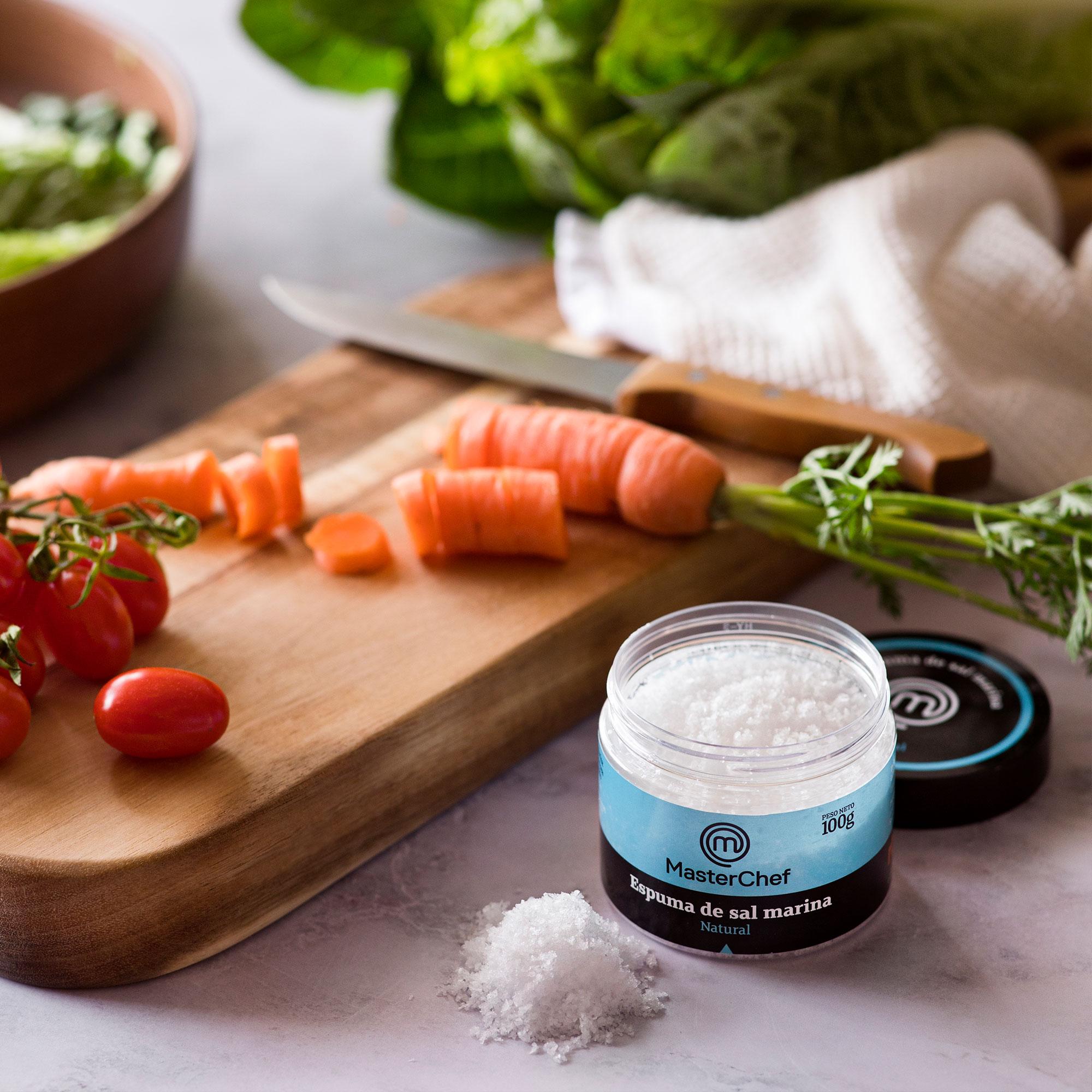 Espuma de sal natural MasterChef Polasal 100g cocinando